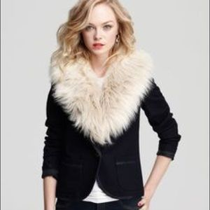 Juicy Couture wool blend removable fur blazer S